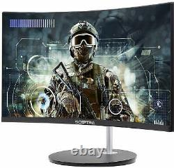 Curved LED Gaming Monitor Full HD 1080P HDMI VGA 75Hz Speakers 24 PC Anti Flick